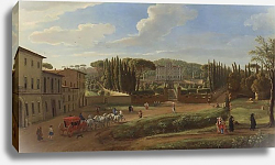 Постер Виттель Гаспар A view of the Villa Aldobrandini from the Piazza Municipale at Frascati