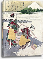 Постер Харунобу Сузуки Salt Maidens on the Tago-no-ura Beach with Mt. Fuji Behind