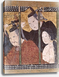 Постер Школа: Японская Two men and a woman behind an awning, detail from a screen, 15th-18th century
