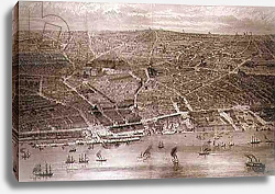 Постер Школа: Английская 19в. Bird's-Eye View of Liverpool from the Mersey with all the New Buildings, 1886