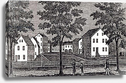Постер Неизвестен Shaker houses in Enfield, from 'Connecticut Historical Collections', by John Warner Barber, 1856