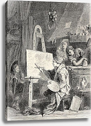 Постер Painter workshop. Engraved by Dutheil-Ecosse, after tablet of Boucher in Khalil-Bey gallery. Publish