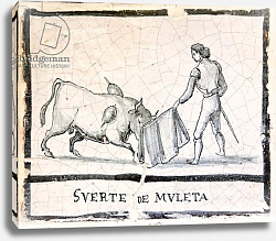Постер Школа: Испанская Bullfight scene on an antique tile - The Muleta Stage