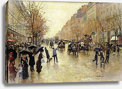Постер Бакст Леон Boulevard Poissonniere in the Rain, c.1885