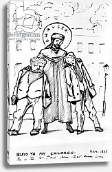 Постер Берне-Джонс Эдвард William Morris and Edward Burne-Jones being blessed by Chaucer, cartoon, 1896