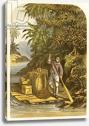 Постер Лидон Александр Robinson Crusoe by means of a raft saves many useful articles from the ship