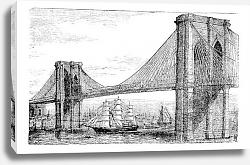 Постер Illustration of Brooklyn Bridge and East River, New York, United States. Vintage engraving from 1890