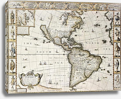 Постер America old map with Greenland insert map. Created by John Speed. Published in London, 1627