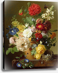 Постер Даель Ян Франс Flower Still Life on a marble ledge, 1800-01