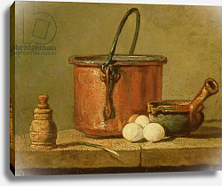 Постер Шарден Жан-Батист Still Life of Cooking Utensils, Cauldron, Frying Pan and Eggs
