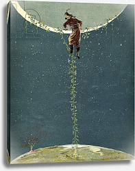 Постер Бишар Альфонс Baron Munchausen climbs up to the moon by way of a Turkey bean plant, c.1886