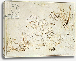 Постер Рембрандт (Rembrandt) The Angel Appears to Hagar and Ishmael in the Wilderness
