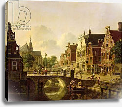 Постер Верхейен Ян Dutch town scene with canal, figures and a church