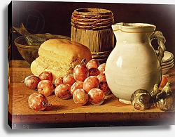 Постер Мелендес Луис Still Life with plums, figs, bread and fish