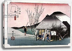 Постер Утагава Хирошиге (яп) The Teahouse at Mariko, from the series '53 Stations on the Eastern Coast Road', 1833