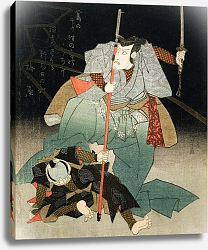 Постер Киниоши Утагава Ichikawa Danjuro VII Overpowering an Officer of the Law, c.1830-44