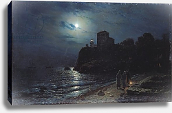 Постер Саврасов Алексей Moonlight on the Edge of a Lake, 1870