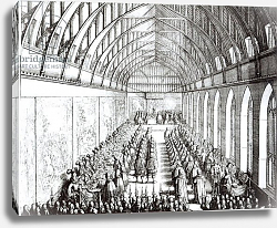 Постер Холлар Вецеслаус (грав) Garter Feast in St. George's Hall, Windsor, in the time of Charles II, 1672