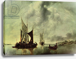 Постер Капель Ян Calm or, Boats near the Coast, after 1651