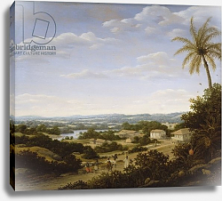 Постер Пост Франс Brazilian landscape with natives on a road approaching a village, 1665