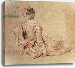 Постер Ватто Антуан (Antoine Watteau) Study of a woman seen from the back, 1716-18