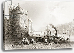 Постер Бартлет Уильям (последователи, грав) The Quay at Waterford, Ireland, from 'Scenery and Antiquities of Ireland' by George Virtue, 1860s