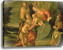 Постер Веронезе Паоло The Holy Family with St. Elizabeth and John the Baptist