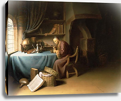 Постер Доу Герард An Old Man Lighting his Pipe in a Study