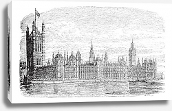 Постер Palace of Westminster or Houses of Parliament in London England vintage engraving