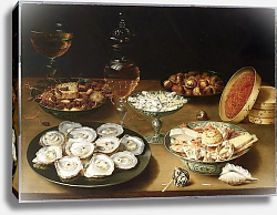 Постер Бирт Осис Still life with oysters, sweetmeats and roasted chestnuts