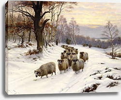Постер Баркер Райт A Shepherd and his Flock on a Path in Winter,