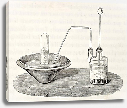 Постер Laboratory equipment for water decomposition by zinc and sulfuric acid. Original, from drawing of Ja