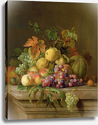 Постер Богдани Якоб A Still Life of Melons, Grapes and Peaches on a Ledge