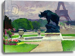 Постер Рену Жюль The Trocadero Gardens and the Rhinoceros by Jacquemart