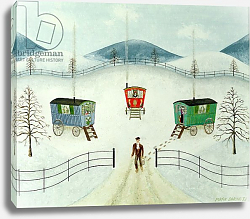 Постер Баринг Марк (совр) Gypsy Caravans in the Snow, 1981