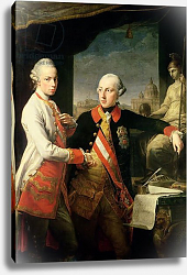 Постер Батони Помпео Kaiser Joseph II, and the Grand Duke Leopold of Tuscany, 1769,