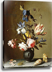 Постер Аст Балтазар Irises, roses, columbine, hyacinth and a tulip in a black pottery pitcher, with seashells and a grasshopper on a stone ledge