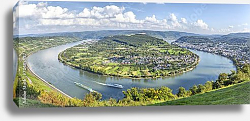 Постер Гкрмания. Picturesque bend of the river Rhine near Filsen