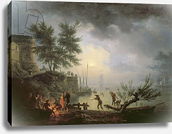 Постер Верне Клод Sunrise, A Coastal Scene with Figures around a Fire, 1760