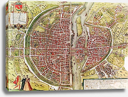 Постер Браун Георг Map of Paris from 'Civitates orbis terrarrum' by Georg Braun and Franz Hogenbergh, French, 1572-1617