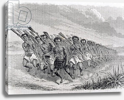 Постер Школа: Испанская Maori Warriors Performing a War Dance, illustration from 'The Return to the World'