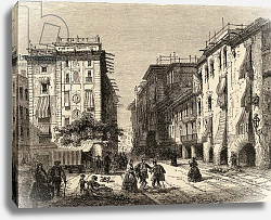 Постер Школа: Английская 19в. Street in Barcelona, illustration from 'Spanish Pictures' by the Rev. Samuel Manning