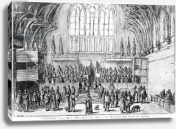 Постер Холлар Вецеслаус (грав) Westminster Hall, West End, with the Courts of Chancery and Kings in Session