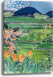 Постер Саймон Хилари (совр) Lovina Ricefields with Lilies and Frangipani, Bali, 1996