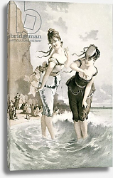 Постер Two young ladies sea bathing in the 19th century by Eduard Fuchs, published 1909.