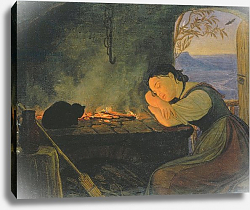 Постер Васман Рудольф Girl Sleeping by the Fire, 1843