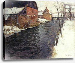 Постер Фалоу Фритц A Winter River Landscape, 1895