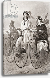 Постер Two cyclists on Penny Farthing bicycles in the 19th century, published 1909.