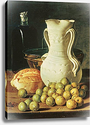 Постер Мелендес Луис Still Life with bread, greengages and pitcher