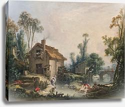 Постер Буше Франсуа (Francois Boucher) Пейзаж с водяной мельницей